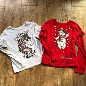 Girls Set of 2 Christmas Shirts Size L 10-12